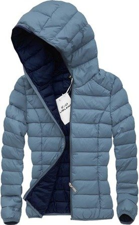 QUILTED HOODED JACKET GREY-AZUR BLUE (7092)