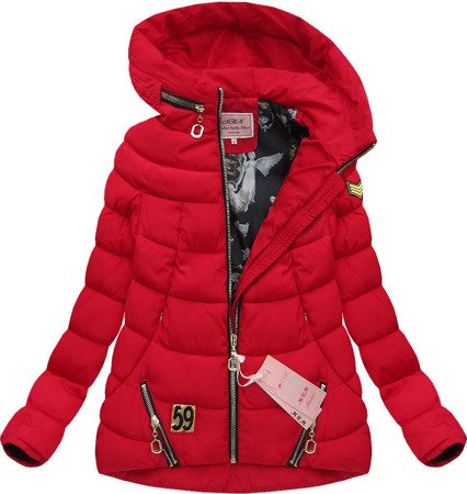 ZIPPED HOODED JACKET RED (W269-1)