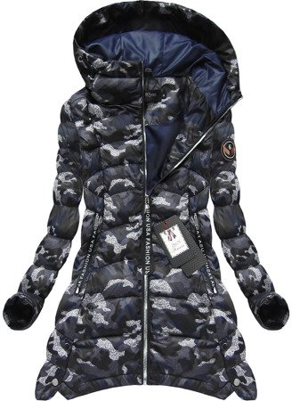ARMY PRINTED QUILTED JACKET NAVY BLUE  (BH1716)