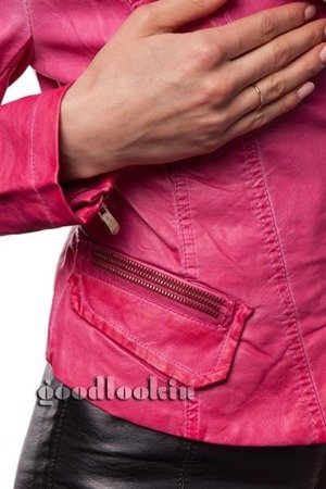 EMBROIDERED BIKER JACKET PINK (AF031)