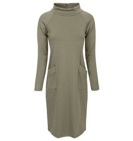 SIMPLE POLO NECK DRESS KHAKI (S38)