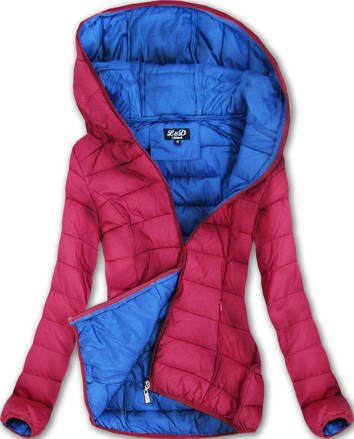 QUILTED HOODED JACKET WINE (7092)